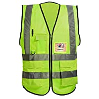 Misslo 5 Pockets High Visibility Zipper Front Breathable Safety Vest with Reflective Strips, Neon Yellow