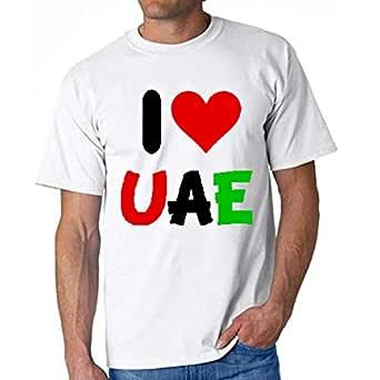 I Love Uae T-Shirt For Men - L, White