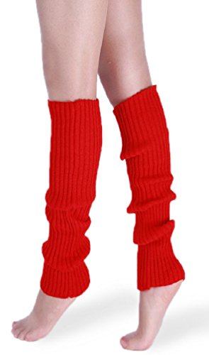 *daisysboutique* Retro Unisex Adult Junior Ribbed Knitted Leg Warmers (One Size, Red) ()