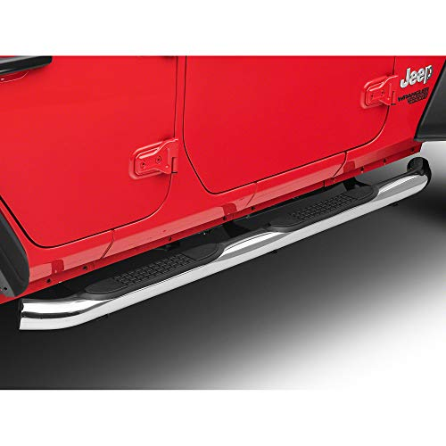 (Redrock 4x4 3 in. Round Curved Side Step Bars - Stainless Steel - for Jeep Wrangler JL 4 Door 2018-2019)