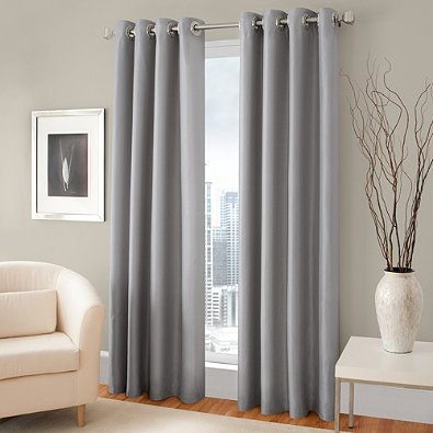 Gorgeous Home (#72) 1 PANEL SOLID SILVER GRAY THERMAL FOAM LINED BLACKOUT HEAVY THICK WINDOW TREATMENT CURTAIN DRAPES BRONZE GROMMETS * AVAILABLE IN DIFFERENT SIZES * (108″ LENGTH)