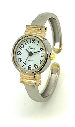 Ladies Small Round Metal Bangle Cuff Fashion Watch White Dial Eikon (Two Tone)