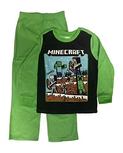 Minecraft Pajamas Boys 2-Piece Steve Fighting Sleep Set,Black Green,10-12]()