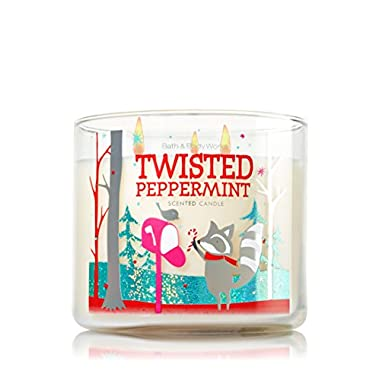 Bath & Body Works Twisted Peppermint 3 Wick 14.5 Oz Candle 2014 Edition