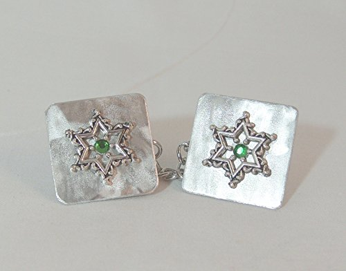 Lacy Star with Green Crystal Tallit Clips