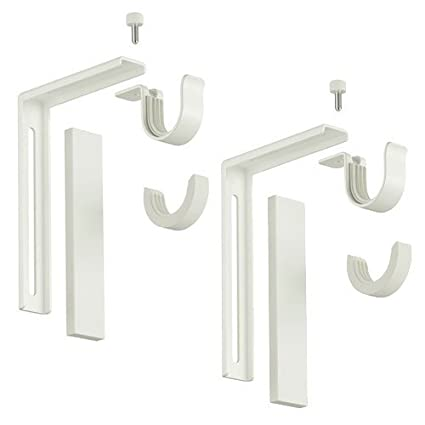Ikea Steel Adjustable Wall or Ceiling Curtain Rod Brackets - Set of 2 Curtain Accessories at amazon