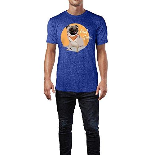 SINUS ART ® Süßer Boxer mit Halstuch Herren T-Shirts in Vintage Blau Cooles Fun Shirt mit tollen Aufdruck
