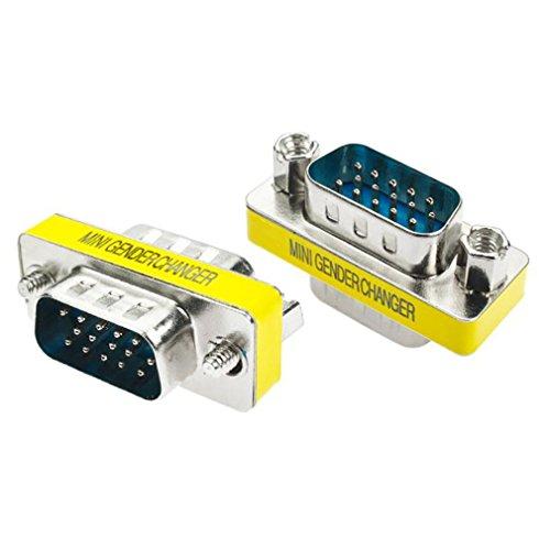 Iusun 15 Pin VGA SVGA HD15 Gender Changer Coupler Adapter Converter Male to Male - Converter Gender