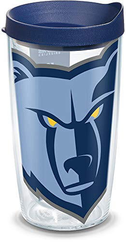 Tervis 1309319 NBA Memphis Grizzlies Colossal 16 oz Tumbler with lid, 16oz, Clear ()