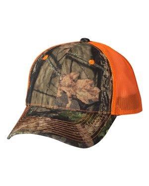 Camo Cap with Neon Mesh Back Mossy Oak Country/ Blaze Orange Adjustable (Orange Camouflage Cap)