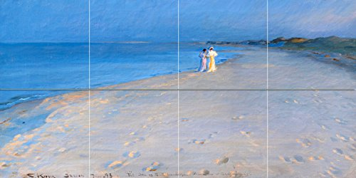 Tile Mural Ladies on the beach by Peder Severin Kroyer Kitchen Bathroom Shower Wall Backsplash Splashback 4x2 8'' Ceramic, Glossy by FlekmanArt