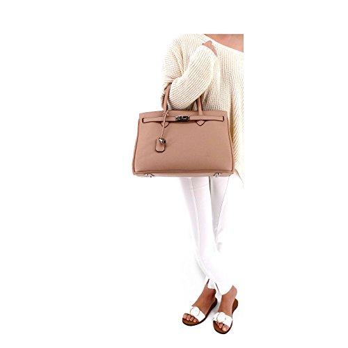 ROUVEN Arrossisce polvere pastello Rosewood pallido Nude & Silver ICONE CITY 35 LUX BOX Borsa di Epsom signore borsa in pelle borsa nobile minimal chic (35x26x18cm)