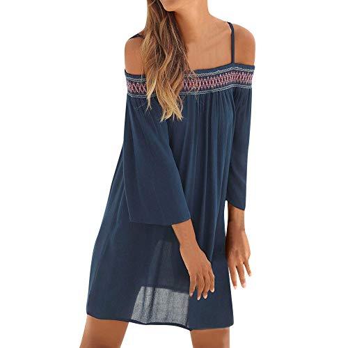 Hot Sale Women Beach Dress DEATU Ladies Fashion Sexy Off Shoulder Long Sleeve Chiffon Loose Beach Mini Dress(Navy,XL)