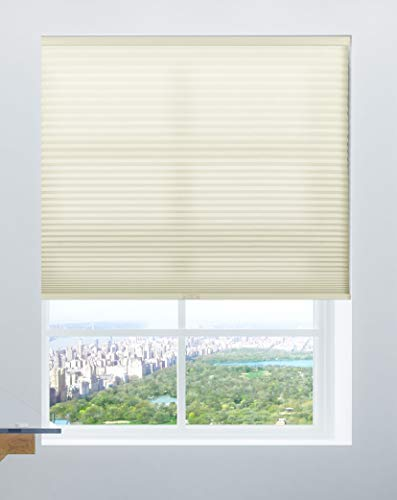 Calyx Interiors Cordless 9/16-Inch Cellular, Honeycomb Shades, 64-Inch Width by 72-Inch Height, Light Filtering Cream ()