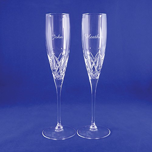 Custom Lenox Venetian Lace Signature Champagne Flute Pair, Set of 2 Flutes, Personalized Venetian Lace Toasting Flutes, Personalized Wedding Flutes, Monogrammed Flutes, Crystal Champagne Flutes by The Crystal Shoppe (Image #2)
