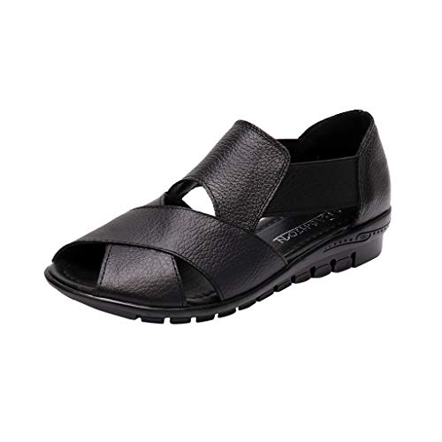 KESEELY Leather Cross Wedge Shoes Open Toe Comfort Casual Sandals Black