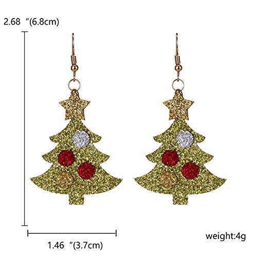 Kanggest Christmas Tree Christmas Drop Dangle Earrings Jewelry for Thanksgiving Womens Girls Kids Including Christmas Snowman Snowflake Abduct Deer Sock Santa Claus Christmas Tree Bell Earrings