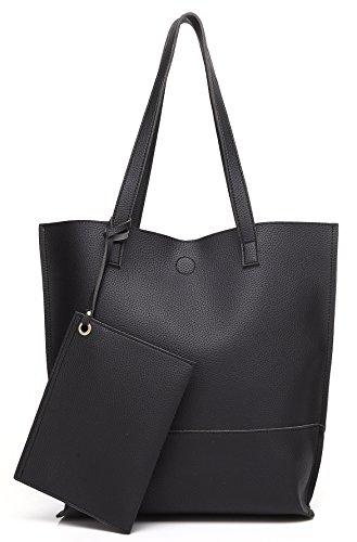 Scarleton Trendy Reversible Tote Bag H20180103 - Black/Grey by Scarleton