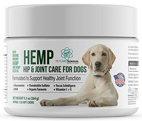 PET CARE Sciences Hemp Hip & Joint Dog Treats - Turmeric, Glucosamine Chondroitin, MSM, Hemp
