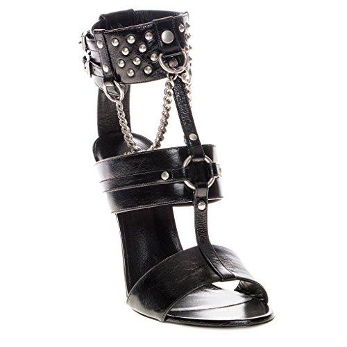 Studded Ankle Cuff (Saint Laurent Women's Fetish 105 Studded Ankle Cuff Sandals Leather Black 40 M EU)