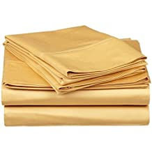 """King of Cotton Bed Sheets Set Egyptian Cotton, Gold Solid 600 Thread Count 4-Piece Queen Bed Sheet Set , Sateen Solid, 16"""" Inches - 18"""" Deep Pocket."""