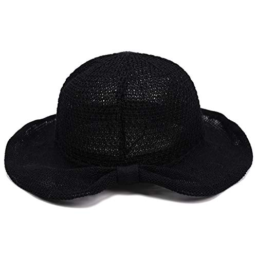 (accsa Women UPF30+ Black Foldable Packable Summer Straw Bucket Hat Sun Protection )