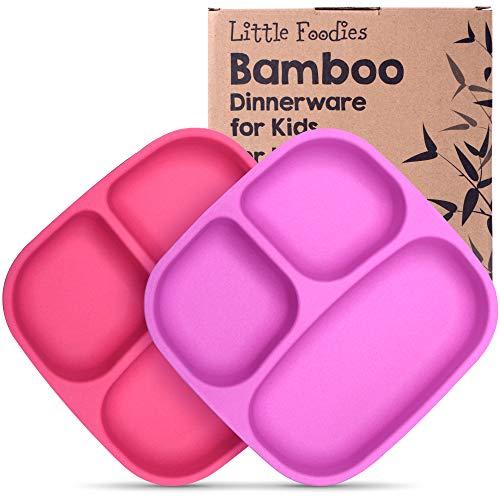 GET FRESH Bambus Kinder Geteilte Teller – 2 Stück Wiederverwendbares Bambus Geteilte Kindergeschirr Set – BPA frei Bambusfaser Kindergerichte Teller – Pink/Violett Bamboo Kids Divided Plates