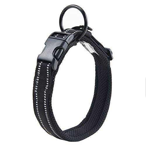 (Pettom Dog Collar Reflective Pet Collar Padded Comfy Adjustable for Small Medium Large Dogs Visible in The Darkness Keep Safe for Dogs (M, Black1))