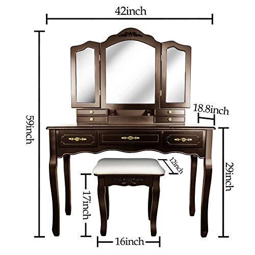 Vanity Table Set-Tri-Folding Necklace Hooked Mirror-7 Drawers6 Organizers Makeup Dressing Table with Cushioned Stool Easy Assembly (Brown)