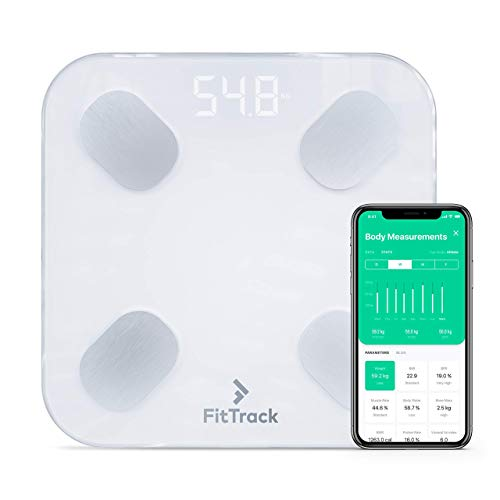 🥇 Báscula Inteligente FitTrack Dara Aprobada Por la FDA – Báscula de Baño Digital Bluetooth – Android & iOS – Báscula Grasa Corporal y Muscular – Monitor de Composición Corporal Con 17 Indicadores