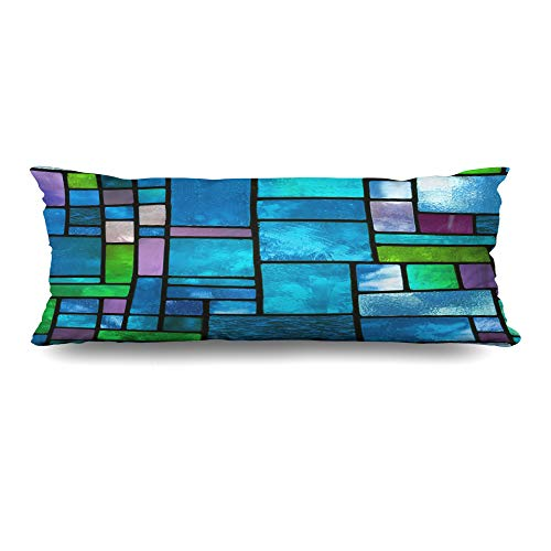 Ahawoso Body Pillows Cover 20x54 Inches Spectrum Blue Color Multicolored Stained Glass Window Irregular Cathedral Abstract Church Pattern Decorative Zippered Pillow Case Home Decor Pillowcase