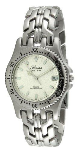 Swiss Edition Men's Luxury Round Silver Link Bracelet Sport Bezel Dress Watch SE3601-M