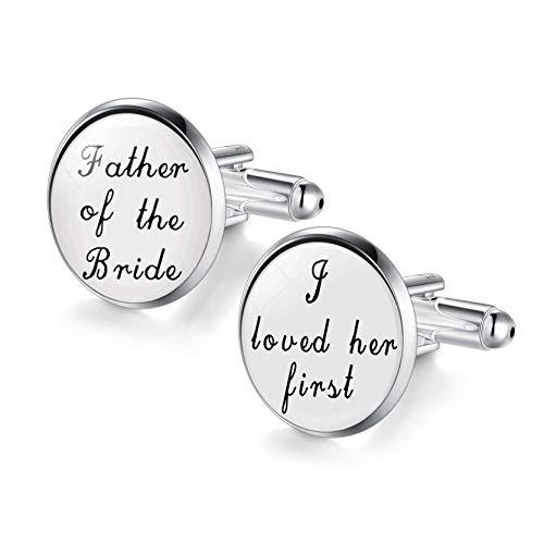JIAYIQI Father of The Bride Cufflinks I Love You Cufflinks for Men