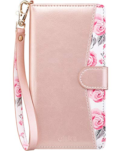 Galaxy Note 9 Case, ULAK Galaxy Note 9 Wallet Case Floral PU Leather with Kickstand Card Holder ID Slot and Hand Strap Shockproof Rubber Cover for Samsung Galaxy Note 9, Rose Gold