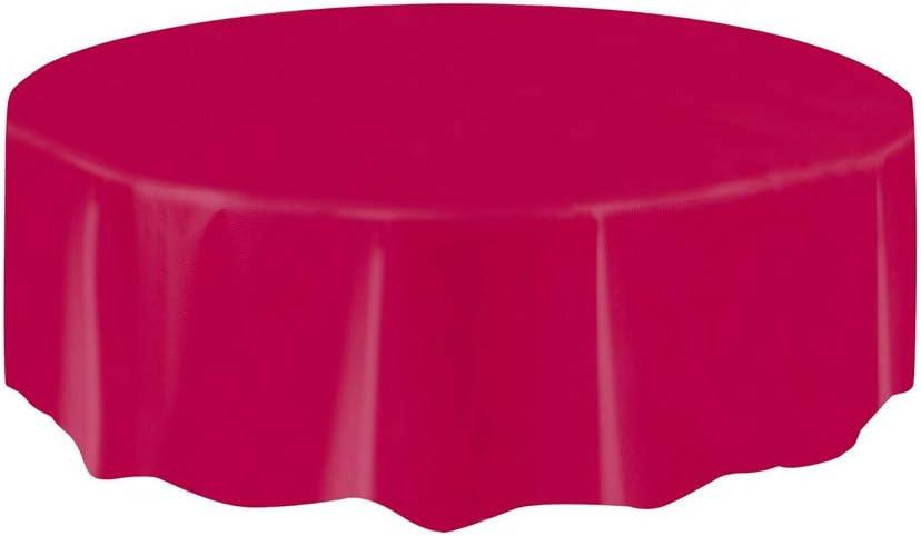 Mantel de Plástico Redondo - 2,13 m - Borgoña