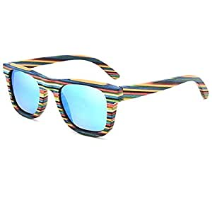 SGJFZD Colorful Wood Personality Colorful Polarized Anti-UV Sunglasses Full Frame Wood Color Film Sunglasses (Color : Blue)