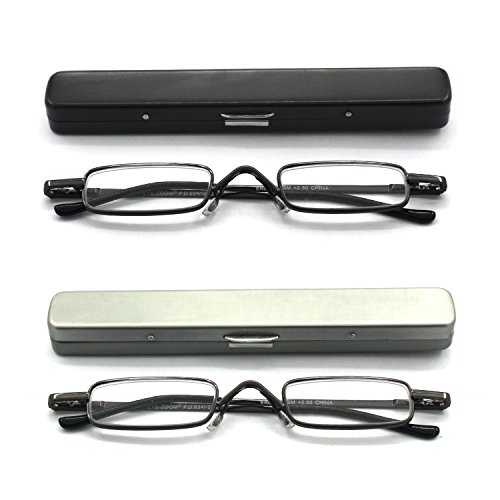 Mini Reading Glasses EYE ZOOM 2 Pack Metal Small Readers with Spring Hinge Lightweight Portable Clip Aluminum Case, Black, Gunmetal, Strength +1.50 (Mini Eye Glasses)