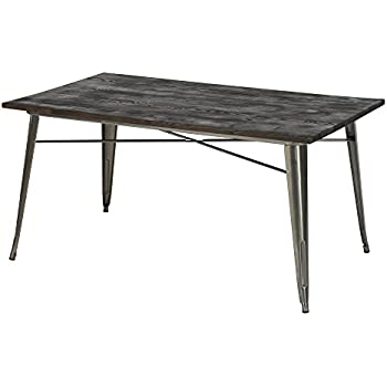 DHP Fusion Rectangular Dining Table, Antique Gun Metal/Wood