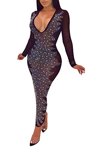 OLUOLIN Women's Sexy Long Sleeve V Neck See Through Rhinestones Stretch Mini Bodycon Party Dress Clubwear