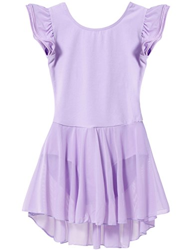 Mdnmd Girls' Flutter Sleeve Skirted Leotard (Tag 110) - Age 2T - 4T, Purple)