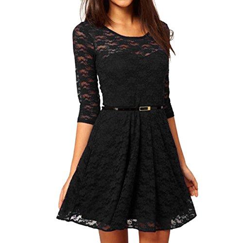 Buy belted black lace dress - 2