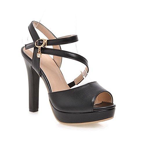 AmoonyFashion Womens Peep Toe Buckle PU Solid High Heels Sandals Black No9zn