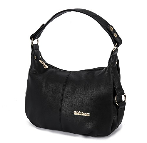 Synthetic Leather Travelling Case - Shoulder Handbag for Women PU Leather Hobo Crossbody Purse Top Handle Bag Black + Katloo Nail Clipper