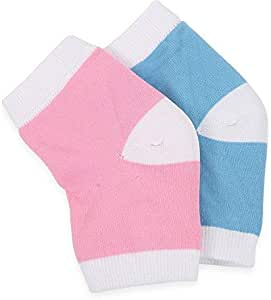 2 Pair Moisturising Socks for cracked heels (blue & pink)-Lumcrissy Moisturising Gel Heel Sleeves Treat Dry Heels Fast Pain Relief from Cracking Feet with these Gel Heel Protector Pads
