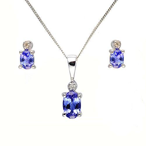 Parure Collier et Boucles d'Oreilles - 181P0641 - 1 - Femme - Or Blanc 375/1000 (9 Cts) 1.406 Gr - Tanzanite 0.008 Cts