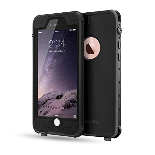 FITFORT iPhone 6 Waterproof Case, IP 68 Certified Ultra Durable Slim Full Body Shockproof Snowproof DirtProof Pro Series Protective Cover Fits iPhone 6s(4.7 Inch) -Black Silent Light Phone Ring Sensor
