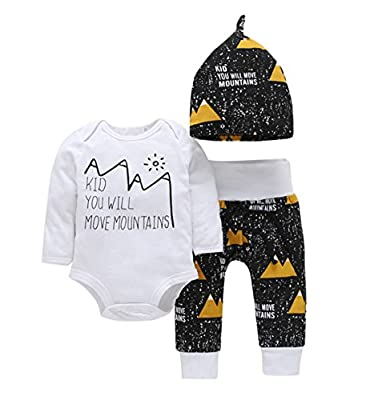 Newborn Baby Boys Girls Move Mountains Funny Bodysuits Pants Hat 3pcs Set Outfits