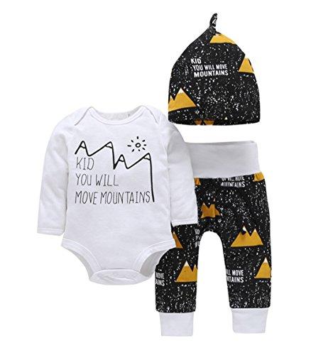 Newborn Baby Boys Girls Move Mountains Funny Bodysuits Pants Hat 3pcs Set Outfits(0-3M, -