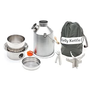 Kelly Kettle Stainless Steel Medium Scout Basic Camp Stove Kit. New Spot Welded Model. The Perfect Camp Stove for Cooking, Hiking, Camping, Kayaking, Fishing, and Hunting. Boil Water, Cook Fast, Survive.