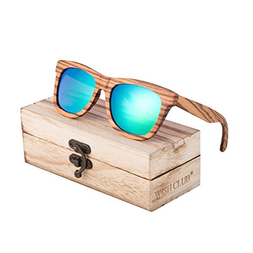 WISH CLUB Wayfarer Polarized Lenses Wood Frame Sunglasses for Women and Men Rimmed Mirrored Wooden Bamboo Eyewear for Unisex Mens Light Round Glasses with Box UV 400 Protection - Rimmed Glasses Steel